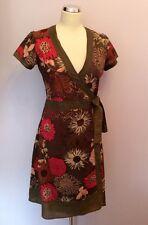 KUSHI BROWN & PINK FLORAL PRINT COTTON WRAP DRESS SIZE 10