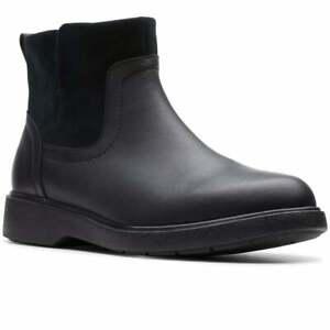 BNIB Clarks Unstructured Ladies Un Elda Lo Black Leather Waterproof Ankle Boots