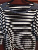 Talbots Navy And White Striped Top Shirt With Chambray Trim & Zipper XL