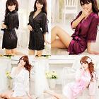 Women Lady Sexy Satin Lace Robe Sleepwear Lingerie Nightdress G-string Nightwear