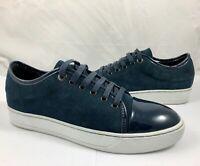 Lanvin Women's Size 9 40 Suede Leather Patent Toe Fashion Sneakers Blue Reg $495