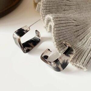 925 Silver C-shape Acrylic Resin Earrings Geometric Women Party Jewelry 2021