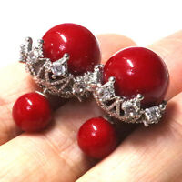 13mm Red Round Crystal Pearl Stud Bridal Earrings Women Jewelry Wedding Gift