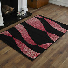 Large 8-10mm Thick Clearance Alpha 160x230cm Quality Multi Modern Soft Rugs 31. Twist Black Red Cream Pink