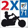 2 stickers autocollants style plaque immatriculation moto Département 71
