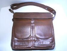 Vintage Chestnut Brown Faux Leather Shoulder Bag Purse
