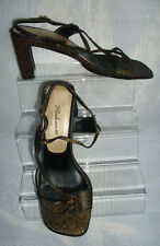 WOMENS Platinum Collection Black/Gold Glitter Slingback Sandals Size:4/37(WHS95)