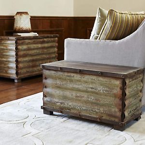 Rustic Metal Chest Trunk Solid Vintage Foot Bed Storage Bench Box Coffee Table