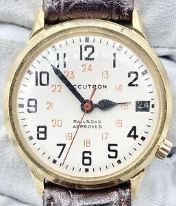 1974 Bulova Accutron Railroad Approved 218 Watch Gold Tone