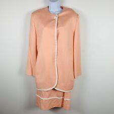 Vintage Christian Dior Womens Suit Sz 14 Peach White Trim Classic P44