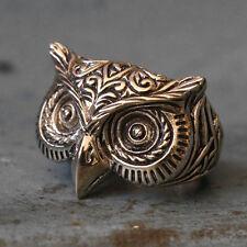 Vintage Bird Biker Ring Skull owl sterling silver Celtic tattoos old school gift