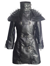 Ladies Steampunk Goth Coat Black Cow Leather Gothic Heavy Duty Jacket