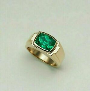 14K Yellow Gold Over Men's Engagement & Wedding Solitaire Ring 2.3 Ct Emerald