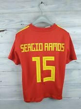 Sergio Ramos Spain soccer jersey kids 9-10 years 2018 home shirt football Adidas