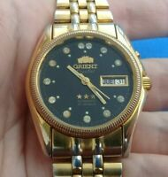 Vintage Orient 3 stars gold-plated automatic watch men 21 jewels 469 (original)