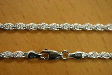 """20"""" 3.3mm Solid Sterling Silver Diamond Cut Rope Chain Necklace Made in Italy"""