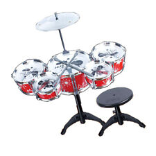 Kids Plastic Drum Set w/ Stool Beat Toy Instrument Red Interest Cultivation