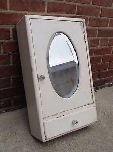 Vintage Wood Medicine Cabinet - Beveled Oval Mirror - Surface Mount - White