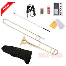 Golden School Band Student Bb Slide Trombone Professional with Tuner Case Kit MA