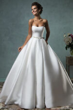 New Satin White/Ivory Bridal Gown Wedding Dress Custom Size 4 6 8 10 12 14 16 18