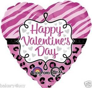 "HAPPY VALENTINES DAY 18"" MYLAR BALLOON PARTY PINK SAFARI ANIMAL PRINT HEART"