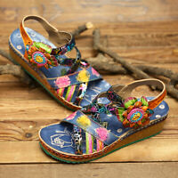 SOCOFY Women Bohemia Pattern Genuine Leather Shoes Hook Loop Wedge Heel Sandals