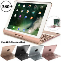 Aluminum Wireless Bluetooth Keyboard Rotation Case Cover for iPad 9.7 iPod Air 2