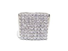 Mens .925 Silver W/ Round Cut White Cubic Zirconia Prong Big Square Ring 36.7g