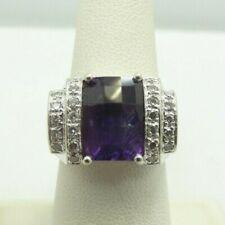 14K White Gold 12mm Amethyst & Diamond Ring Size 7.25 10.5 Grams D9745