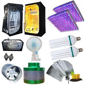 Hydroponics Setup LED 225 130w CFL Grow Light 2700k 6400k Ventilation Clip Fan