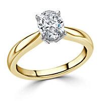18K Yellow Gold Ova 2.00 Ct Diamond Solitaire Wedding Ring Hallmarked
