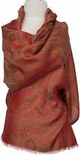 Seidenschal Rot Braun Olivegrün 100%Seide, silk stole scarf Foulard écharpe soie