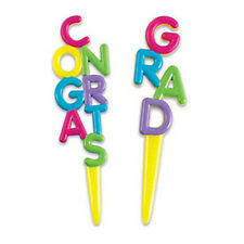 48 CONGRATS GRAD Yellow Cupcake Hors d'oeuvres Picks Celebration Party
