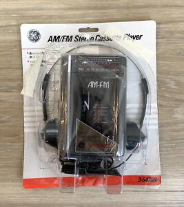 GE AM/FM Stereo Cassette Player + Headphones + Batteries NEW VTG 3-5470S