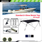 Scitoo 4bow Bimini Top Boat Cover 8ft Length 54 H 61-96 W Blackgrayblue