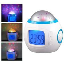 LED 7 Color Changing Music Star Sky Projection Alarm Clock Calendar Night Light