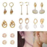8Types Women Ladies Gold Tone Pearl Shell Circle Pendant Drop Hoop Earrings Gift