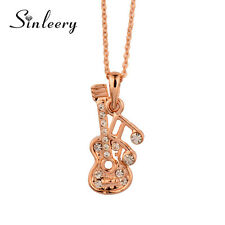 2017 New Crystal Musical Note Guitar Pendant Necklace Female 18K Rose Gold XL268