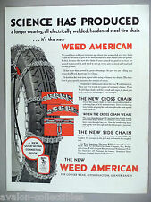 Weed American Tire Chains PRINT AD - 1929 ~ chain, car, automobile, auto