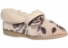 Ladies Slippers Grosby Daphne Beige Floral Slipper Size 7-9 Woolly Warm Lining