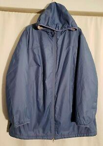 LL Bean-Women Blue Soft Fleece Lined Hooded Zip Jacket-Zip Pockets-Size 3X