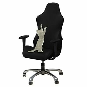 Gaming Chair Slipcover Stretch Seat Chair Cover for Leather One Size Black