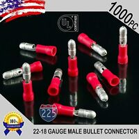 "1000 Pack 22-18 Gauge Red Male Bullet Connectors Fully Insulated Vinyl .156"" UL"