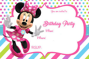 Colourful Pink Minnie Mouse Birthday Party Invites MM1