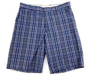 """Dockers Men's Flat Front 10"""" Inseam 100% Cotton Pockets Blue Plaid Shorts 32"""
