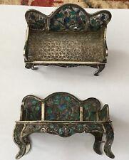 Vintage Filigrana Plata chino pos Miniatura Casa de muñecas sillas de repuesto o reparación