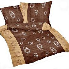 Sommerbettwäsche Bettbezug 155x220 cm Seersucker Bügelfrei Braun weiß Triball