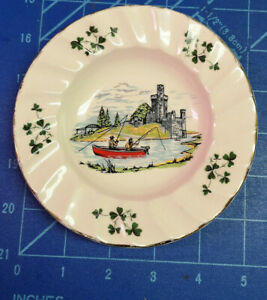 """Carrigaline Ashtray/Dish. Fishing by a Castle. 5 1/2"""" across."""