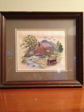 Needle Work Counted Crossstitch Framed Cabin Handmade