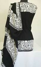 White, Crewel, Paisley Embroidery on Black Wool Shawl Pashmina top Quality